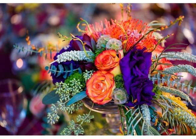 orange and purple centerpiece