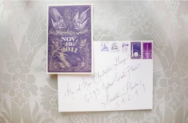 purple violet calligraphy invitation