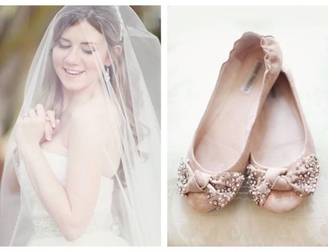 blush pink bridal flats