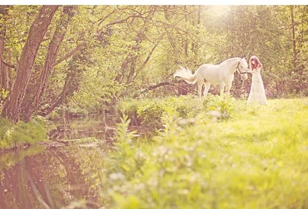 woodland bride with horse