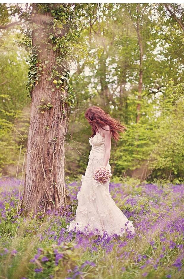 bride in the bluebell wood