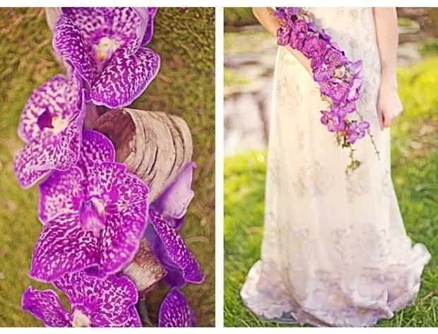 purple orchid cascading bouquet