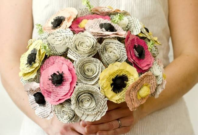recycled paper bouquet