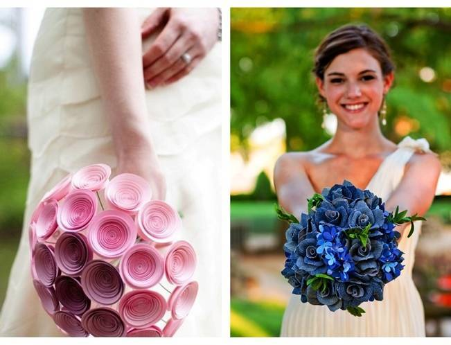 pink and blue paper flowers