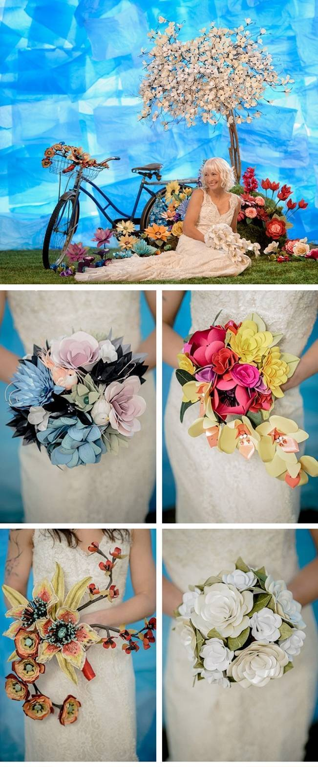 handmade paper bouquet - anenome paper flowers spokane