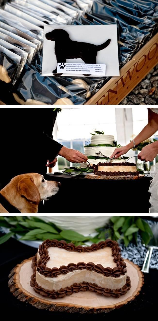 dog bone shaped cake, wedding with dogs