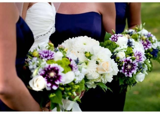 purple and green bridesmaids