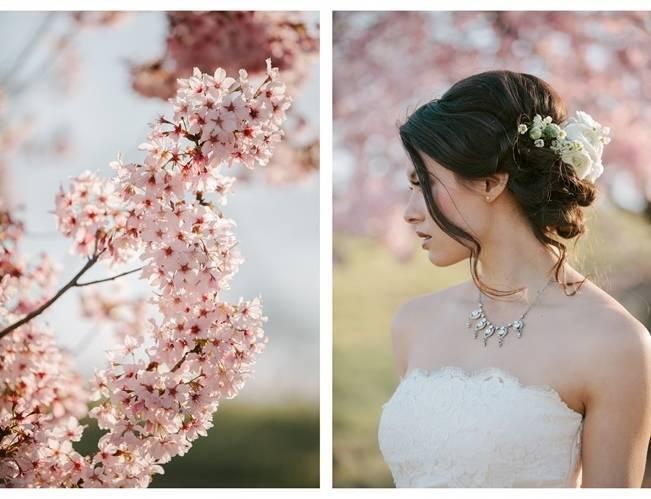 cherry blossom wedding styled shoot