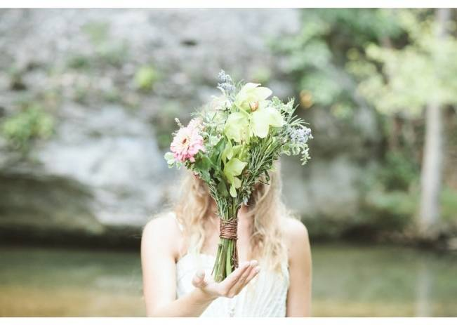 rustic wedding bouquet with green orchids