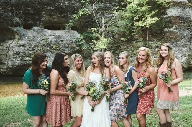 mismatched rustic bridesmaid dresses