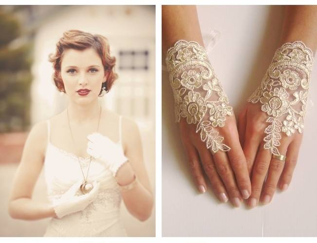 lacy bridal gloves