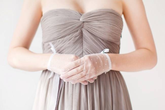 sheer bridal gloves