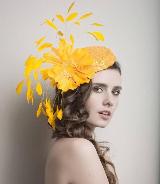 arturo rios yellow fascinator derby hat