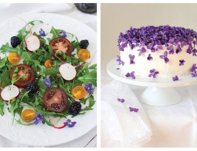 sweet violet cake, salad