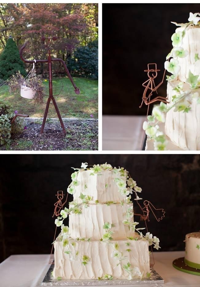 rustic wedding cake, rock climbing bride and groom