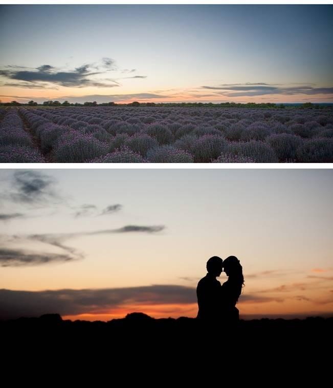 lavender farm wedding sunset