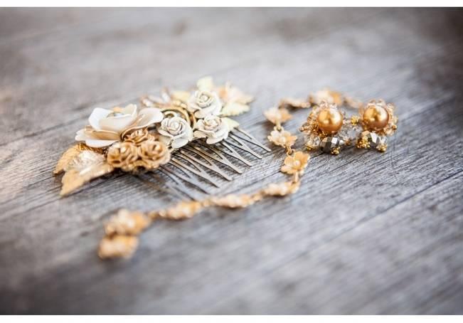 gold flower bridal hair comb