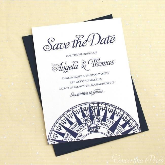 nautical compass save wedding save the date