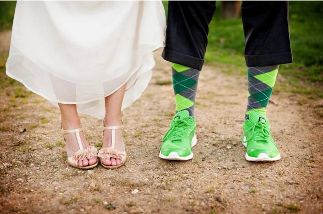 bright green groom shoes
