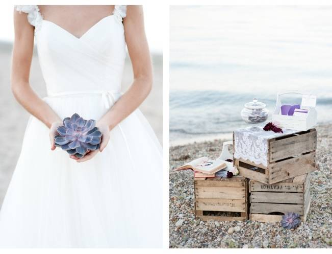succulent beach wedding
