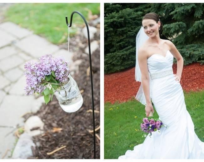 lilac in mason jars
