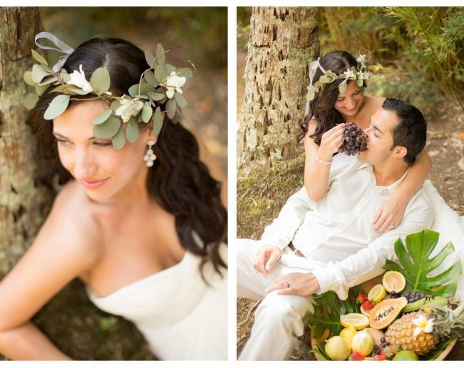 leafy tropical bridal crown