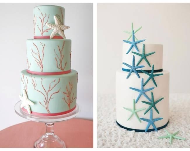 coral and starfish wedding cake