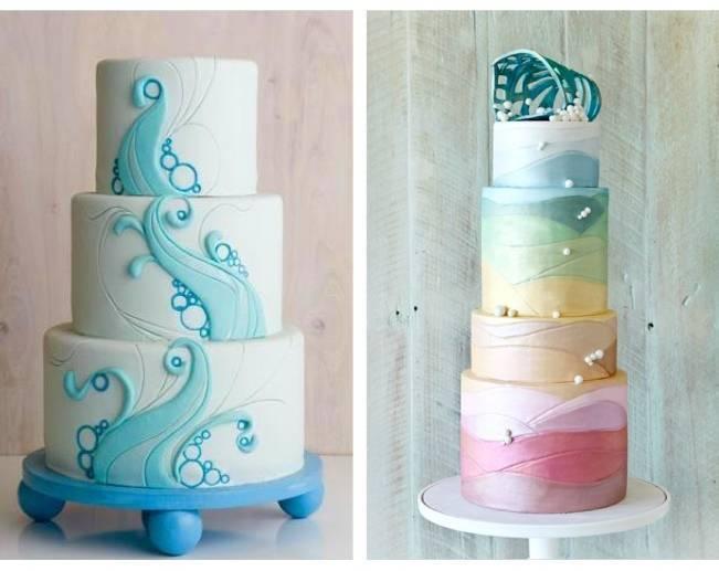 blue ocean wedding cake