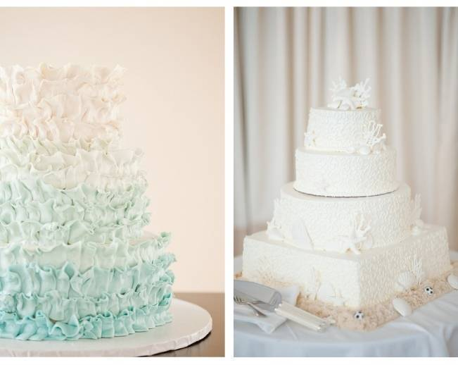 aqua ocean ruffle cake