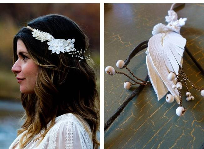 desert bride hair halo