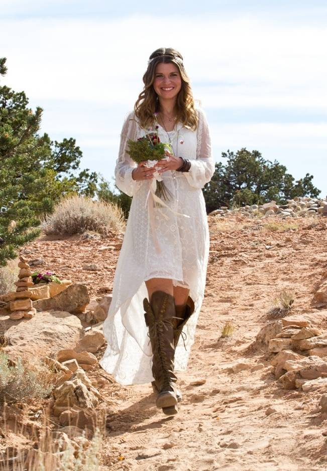 hippie bride with hi-lo wedding gown