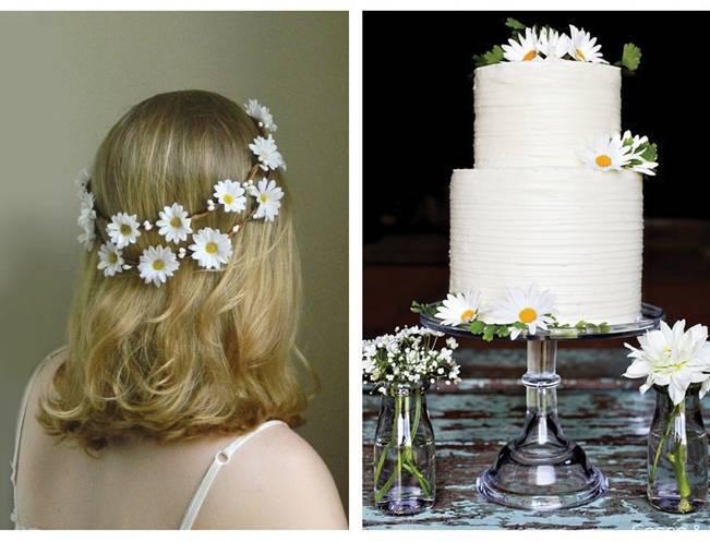 daisy hair wreath, simple daisy wedding cake