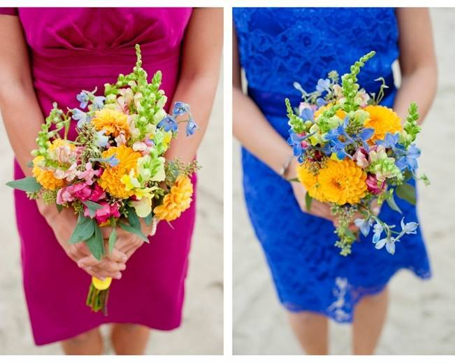 yellow pink blue bouquets