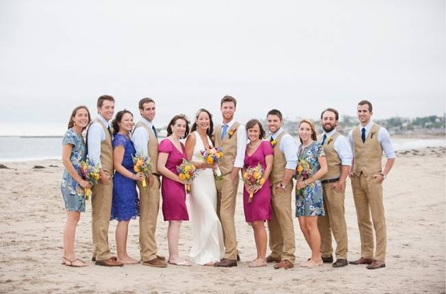 cobalt blue and hot pink wedding party on beach