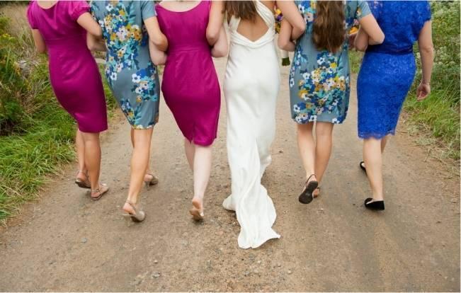 teal and fuchsia bridesmaids