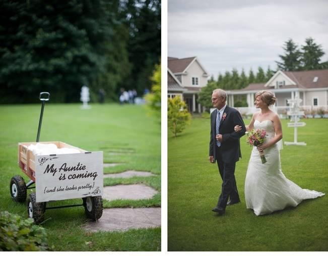 backyard wedding procession