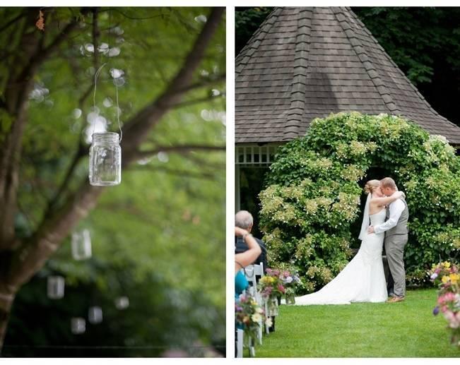 hanging mason jars in trees