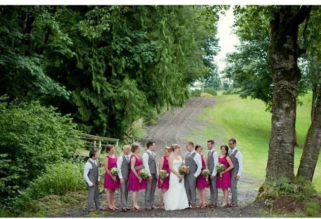 fuchsia and grey wedding party