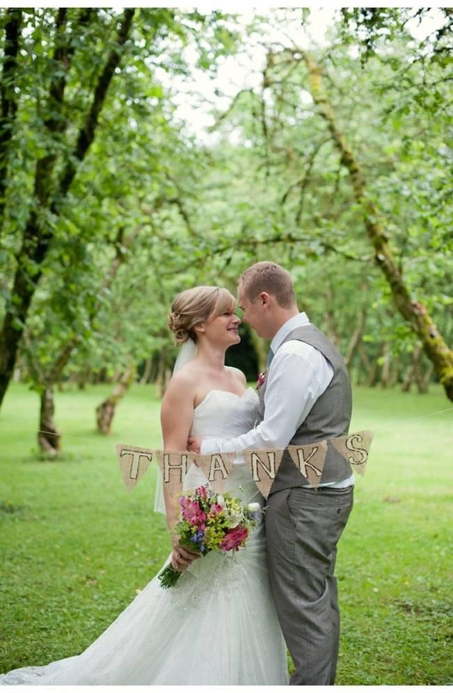 burlap wedding thank you banner