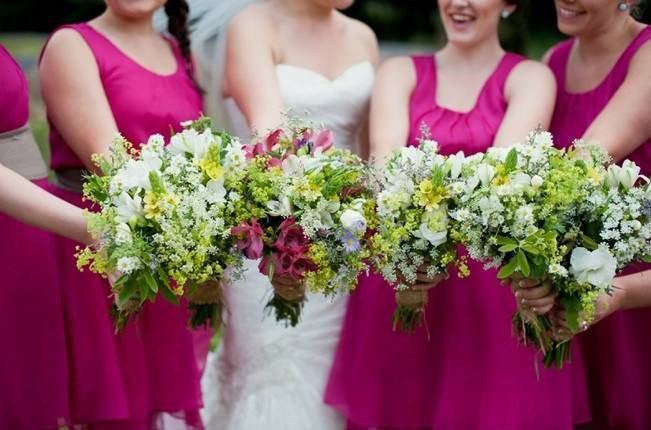 pink and green wildflower bouquets
