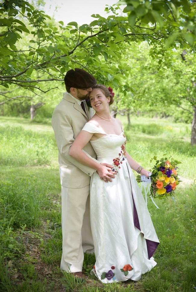 Tara Lynn Bridal dress and groom suit