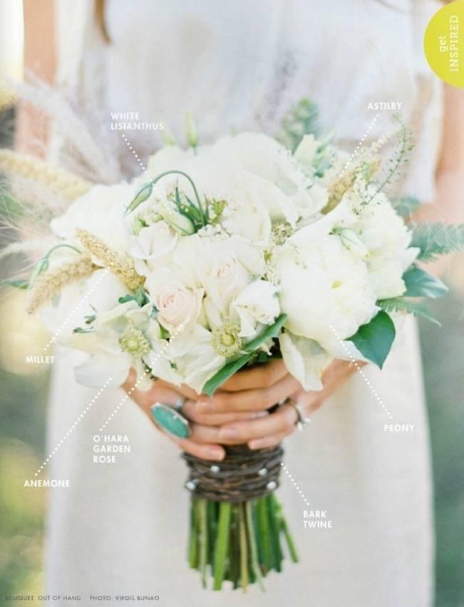 white lisianthus rustic bouquet