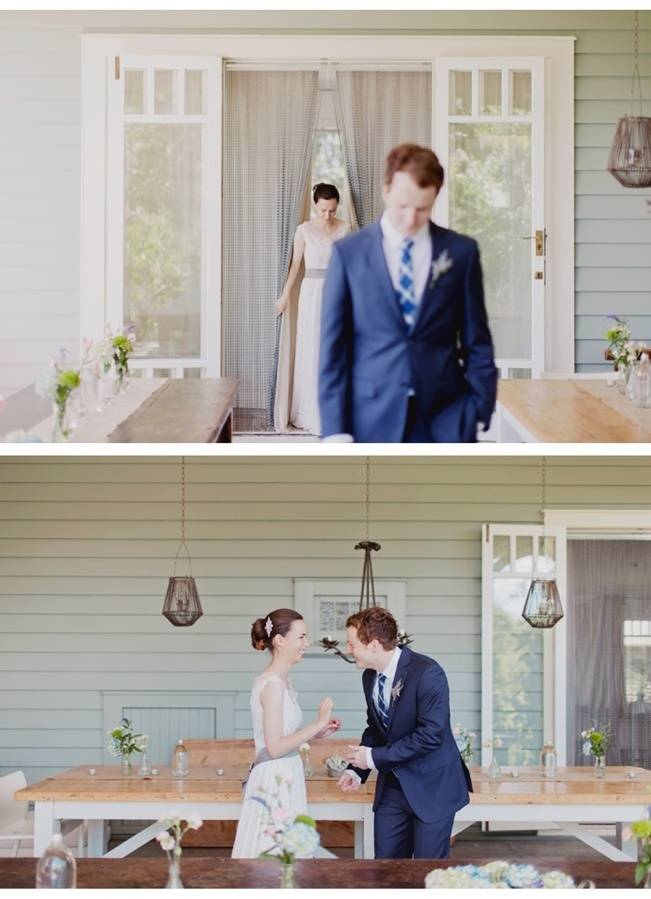 first look bride and groom in backyard