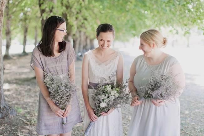organic bride and bridesmaid style