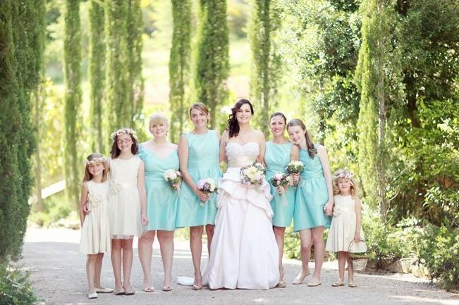 robins egg blue bridesmaid dresses