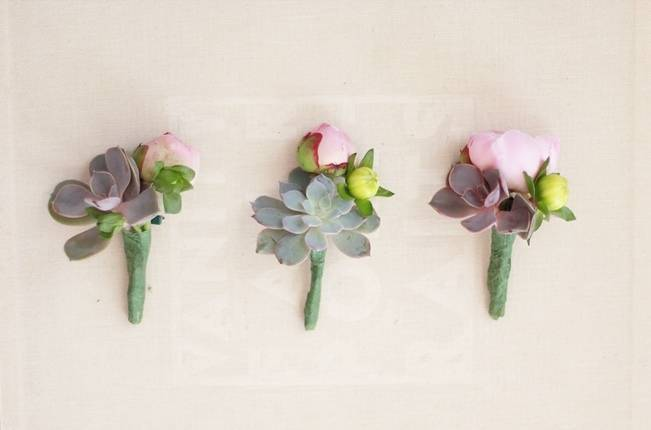 peony bud and succulent boutonnieres