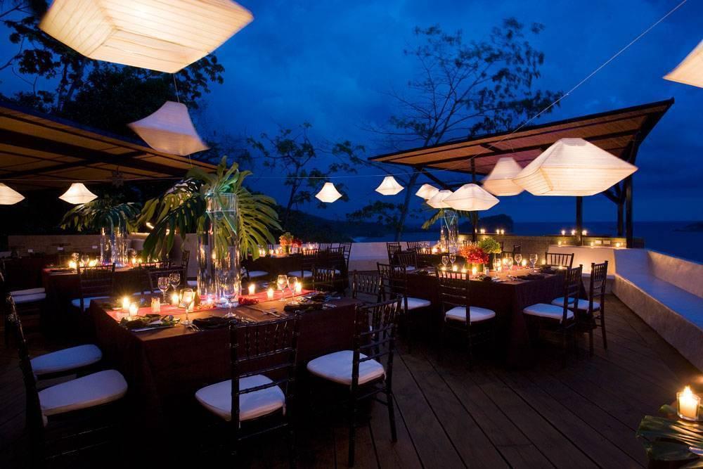 outdoor tropical beach wedding reception lighting
