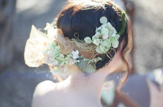 green hydrangea rustic headpiece
