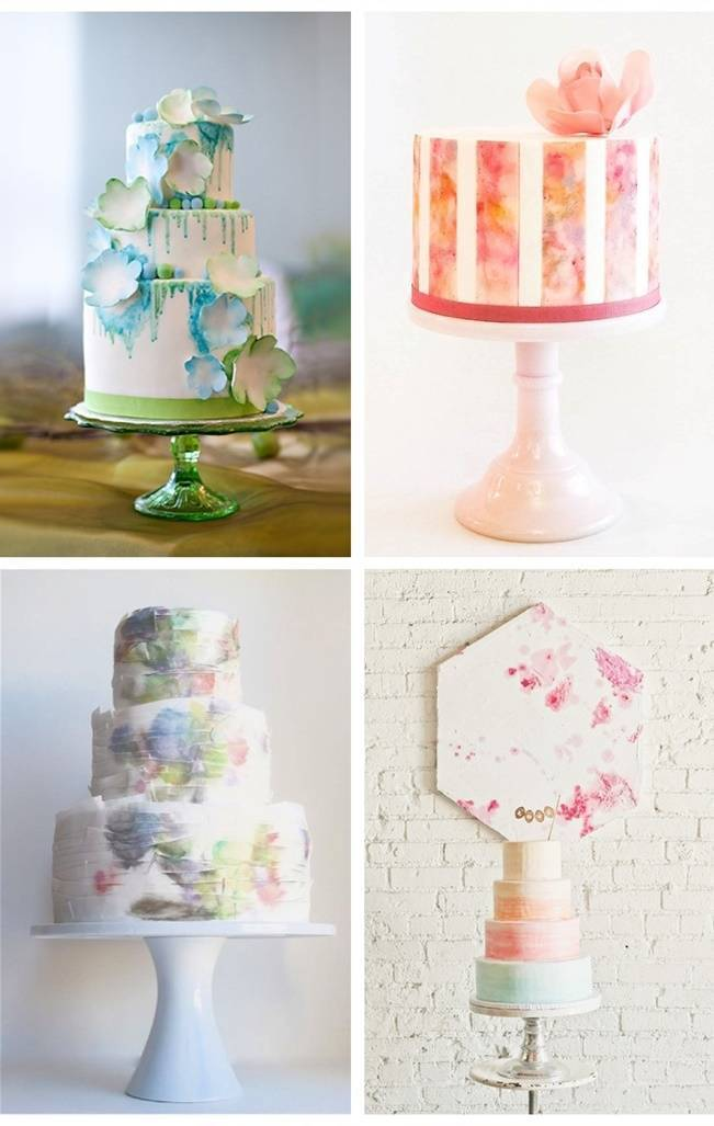 watercolor painted cakes