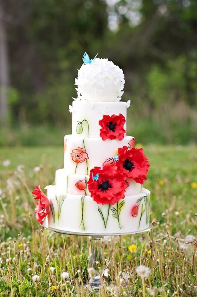red poppy watercolor painted cake